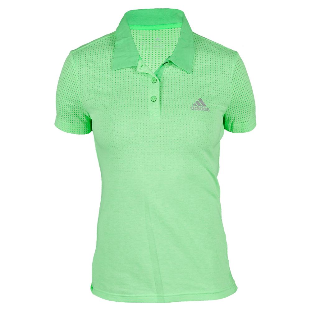 adidas Women`s Aeroknit Climacool Tennis Polo Flash Green