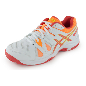 Juniors` Gel-Game 5 Tennis Shoes White and Hot Coral