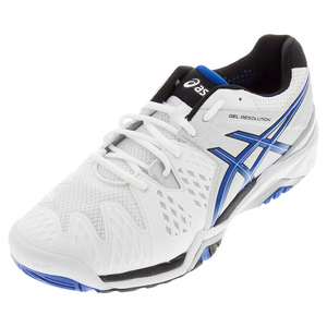 Men`s Gel-Resolution 6 Tennis Shoes White and Blue