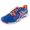 ASICS Men`s Gel-Resolution 6 Tennis Shoes Blue and Flash Orange