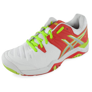 Women`s Gel-Challenger 10 Tennis Shoes White and Hot Coral