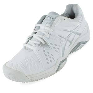 Women`s Gel-Resolution 6 Clay Tennis Shoes White and Silver
