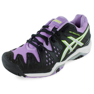 Women`s Gel-Resolution 6 Tennis Shoes Black and Orchid