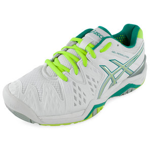 Women`s Gel-Resolution 6 Tennis Shoes White and Emerald Green
