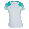 FILA Women`s Baseline Cap Sleeve Tennis Top White and Aqua Mint