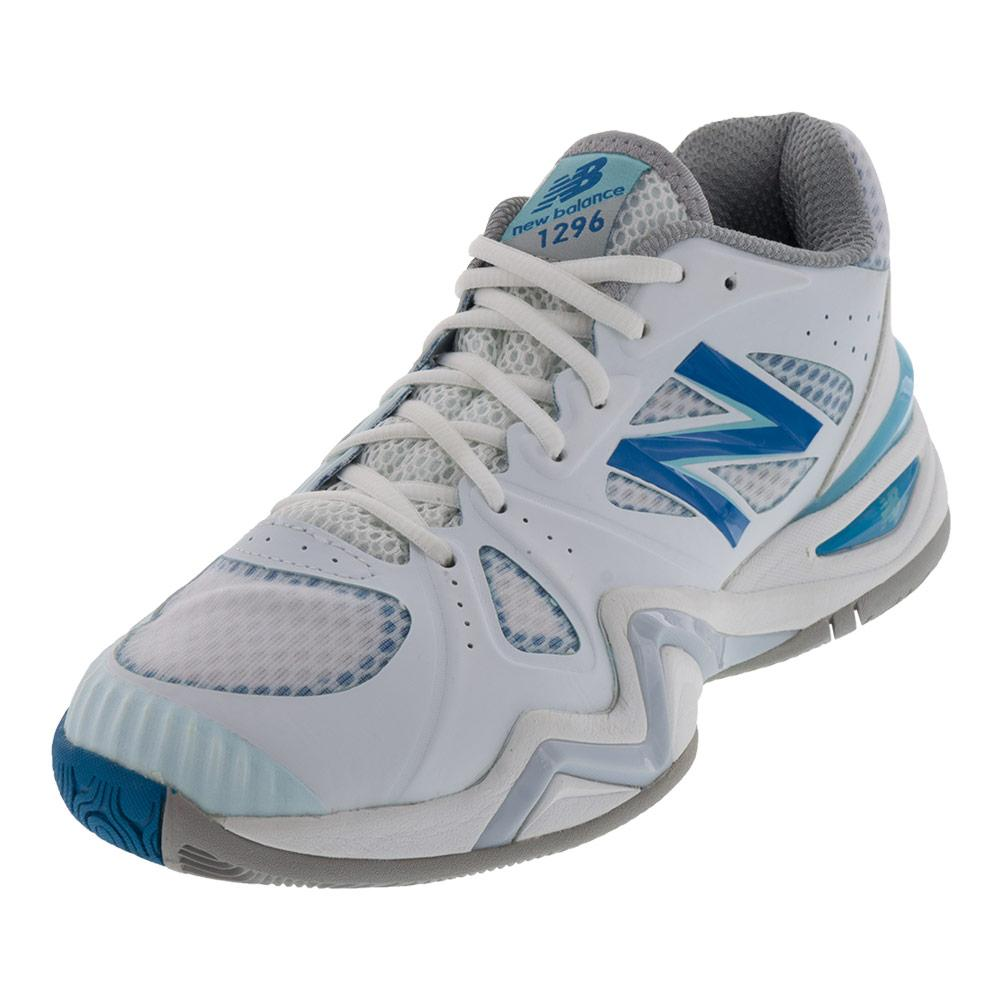 Women's 1296v1 B Width Tennis Shoes White And Blue