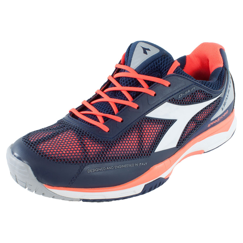 DIADORA Men`s S Pro Evo AG Tennis Shoes Blue Prugna and Flame Red