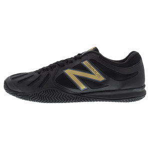 Men`s 60v1 Clay Court D Width Tennis Shoes Black and Gold