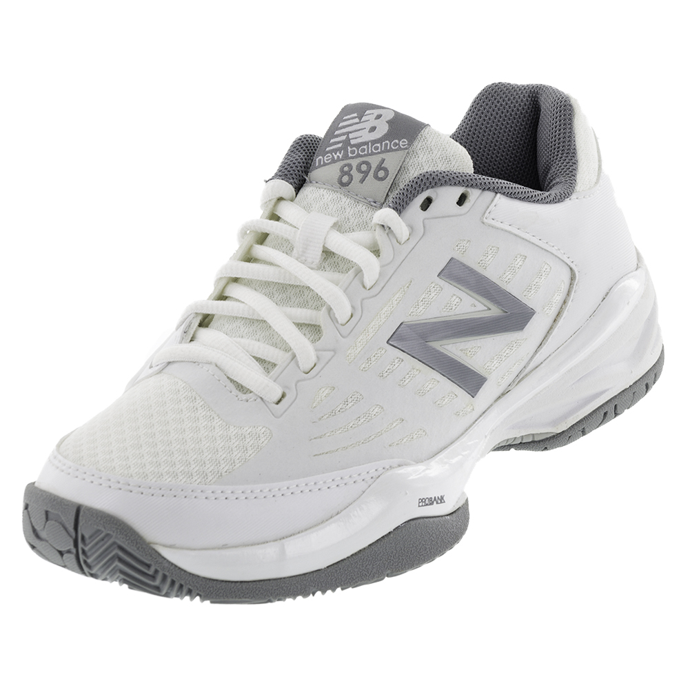 Women's 896 B Width Tennis Shoes White And Silver