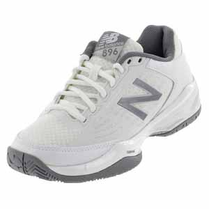 Women`s 896 B Width Tennis Shoes White and Silver