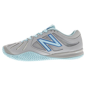 Women`s 60v1 B Width Clay Tennis Shoes Silver and Blue