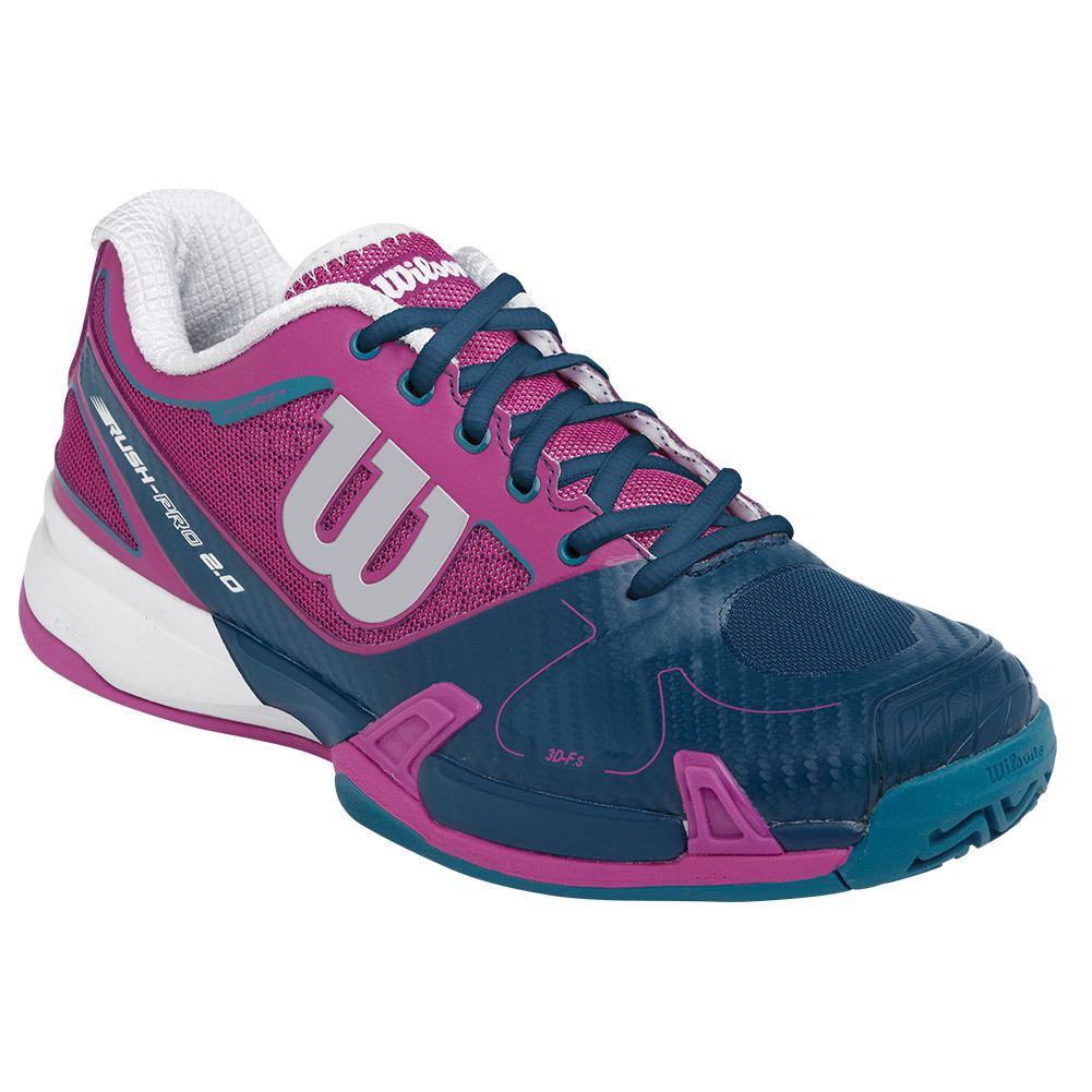 Women's Rush Pro 2.0 Tennis Shoes Dark Peony And Pacific Teal