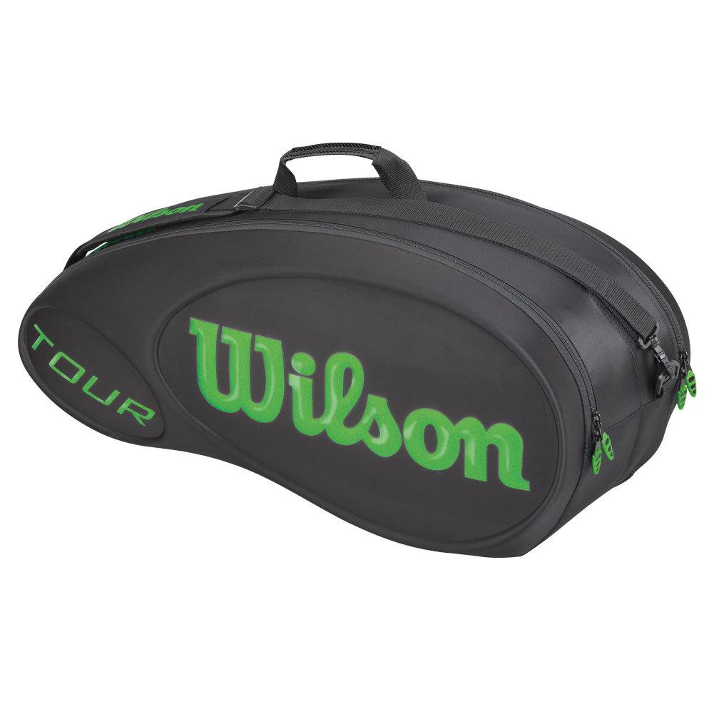 wilson tour molded 6 pack tennis bag blk lime