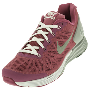 Girls` Lunarglide 6 Running Shoes Hot Pink and White