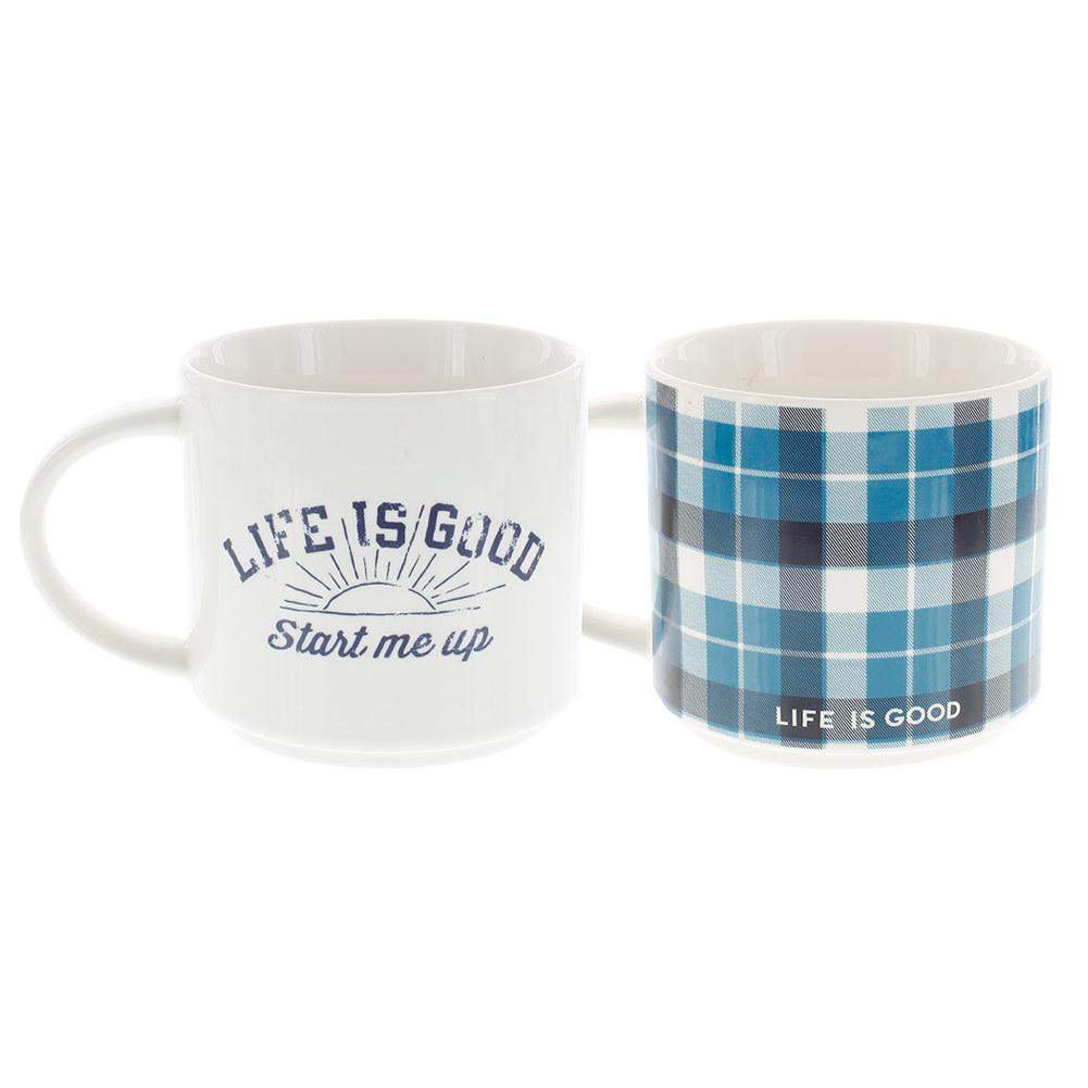 Start Me Up Stack- Happy Mug Ivory And Turquoise Blue Plaid