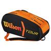 WILSON Tour Molded 9 Pack Tennis Bag Black and Orange