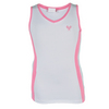 LITTLE MISS TENNIS Girls` Tennis Tank White and Pink