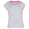 LITTLE MISS TENNIS Girls` Cap Sleeve Tennis Top White and Pink