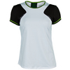 LUCKY IN LOVE Women`s Colorblock Tennis Cap Sleeve White and Black