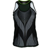 LUCKY IN LOVE Women`s Mesh Digital Layer Tennis Tank Black Print