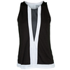 LUCKY IN LOVE Women`s Deep V Highneck Tennis Tank Black and White