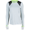 LUCKY IN LOVE Women`s Long Sleeve Tennis Crew White and Neon Yellow