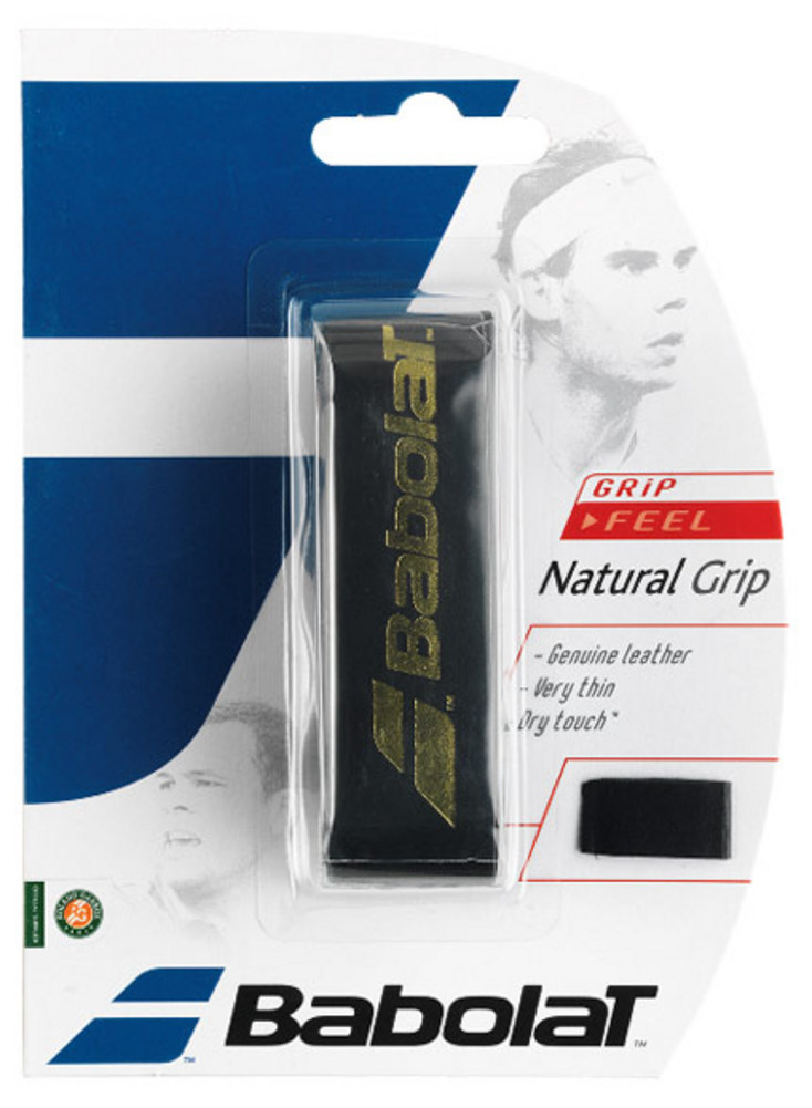 Natural Leather Replacement Tennis Grip Black