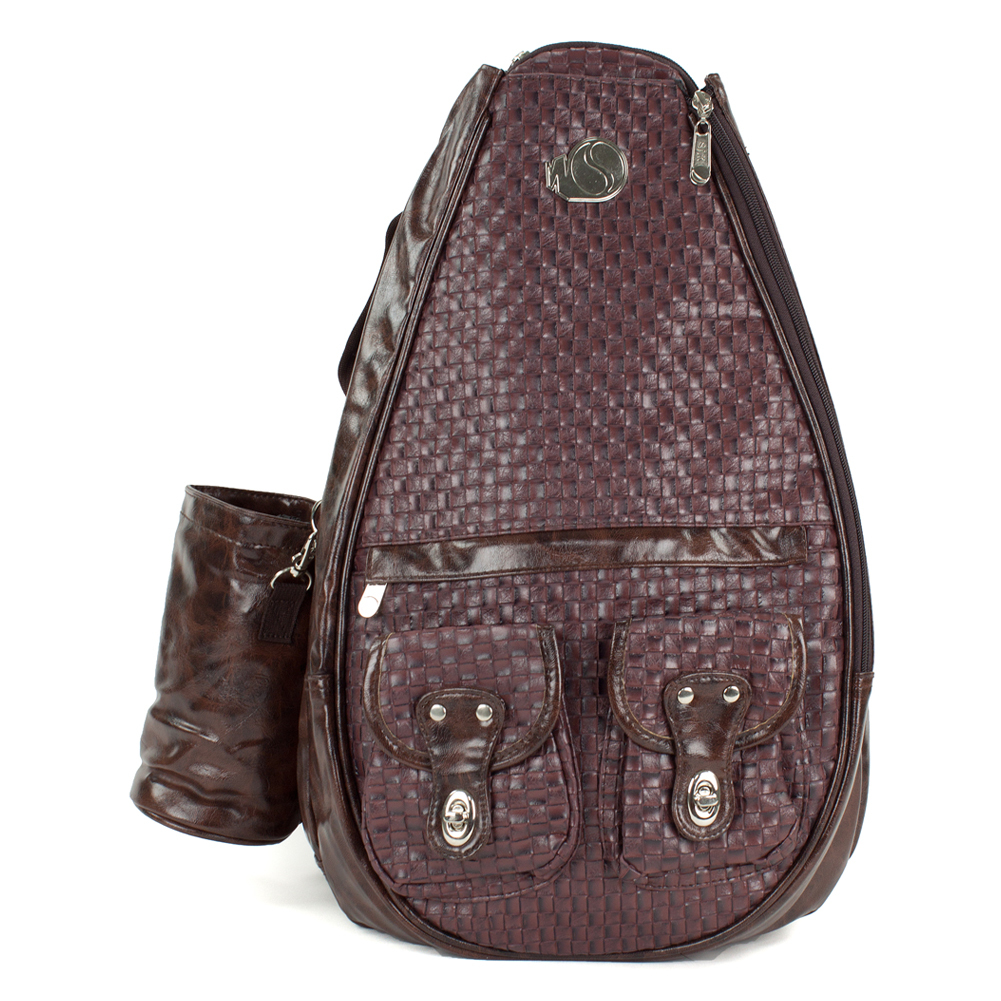 Small Mocha Make a fashionable arrival to the courts with your   small sak The small sak accommodates up to two racquets and has a front zippered compartment There are two compartments on the front with magnetic closures plus a zippered pocket with built in slots to