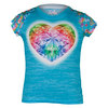 LUCKY IN LOVE Girls Printed Burnout Gem Tennis Tee Ocean