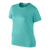 NIKE Women`s Extended Size Short Sleeve Miler Top Light Aqua