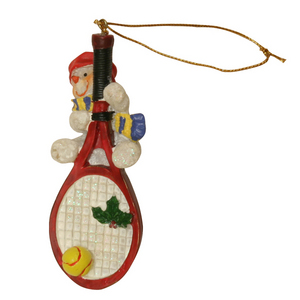 CLARKE SNOWMAN ON LARGE RACQUET ORNAMENT