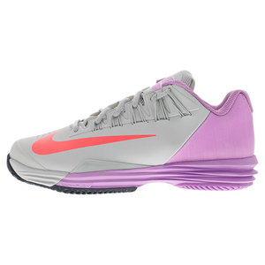 Women`s Lunar Ballistec 1.5 Tennis Shoes Gray Mist and Fuchsia Glow