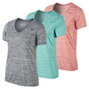 NIKE Women`s V-Neck Legend Short Sleeve Veneer Tee