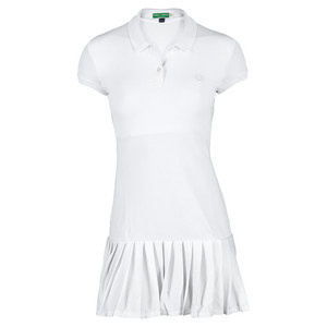 Women`s Mesh Collar Tennis Dress White