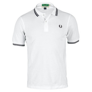 FRED PERRY MENS WICKABLE TIPPED TENNIS POLO WHITE