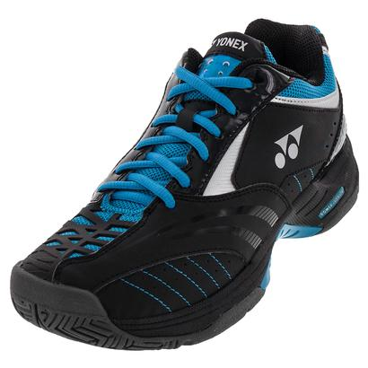 Men`s Power Cushion Durable II Tennis Shoes Black and Sky Blue