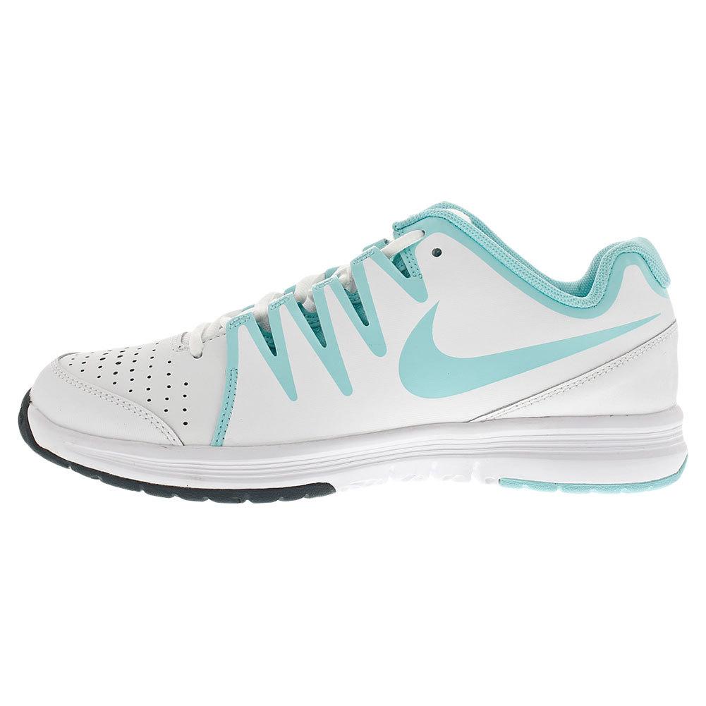 Women's Vapor Court Tennis Shoes White And Light Aqua