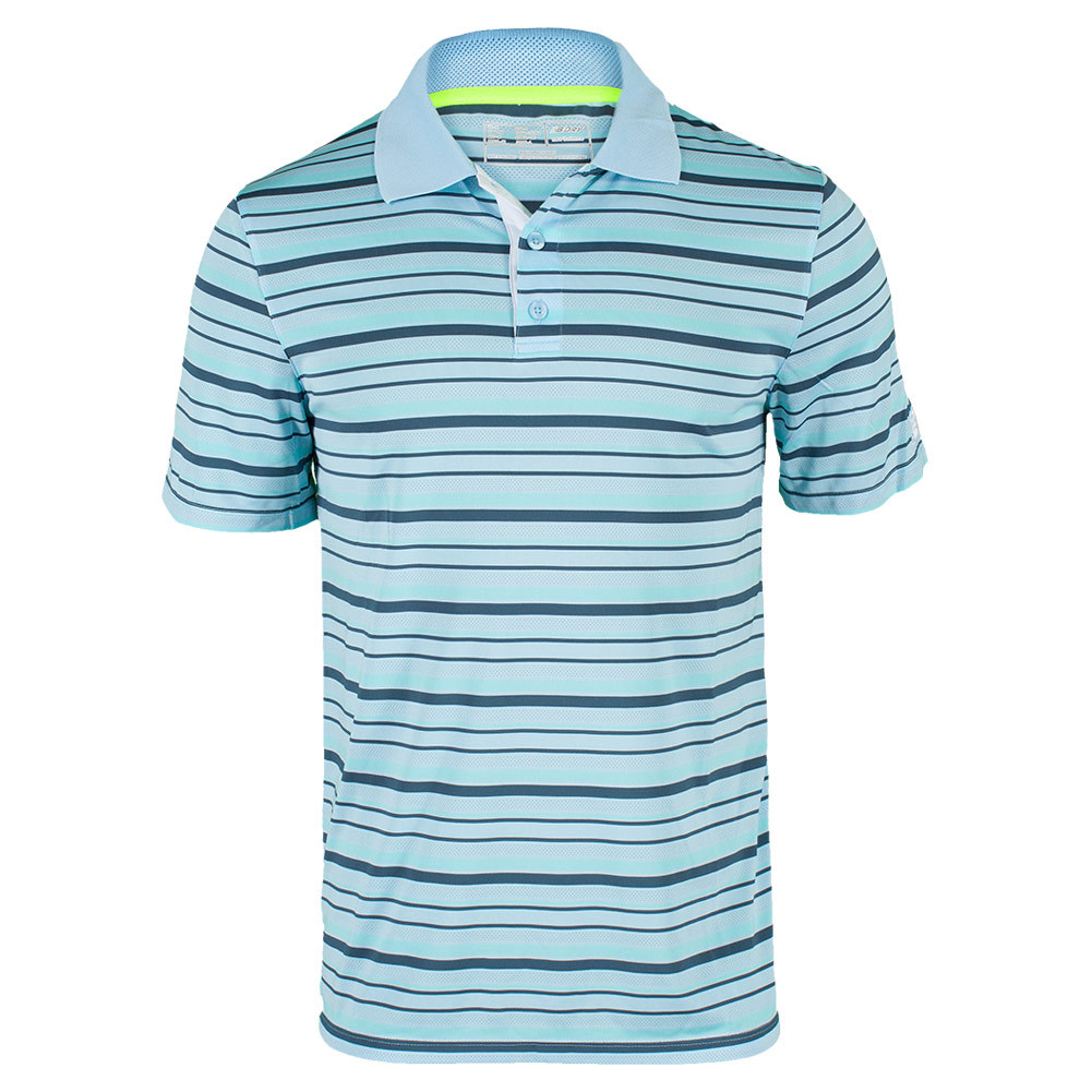 Men's Tournament Striped Tennis Polo Crystal