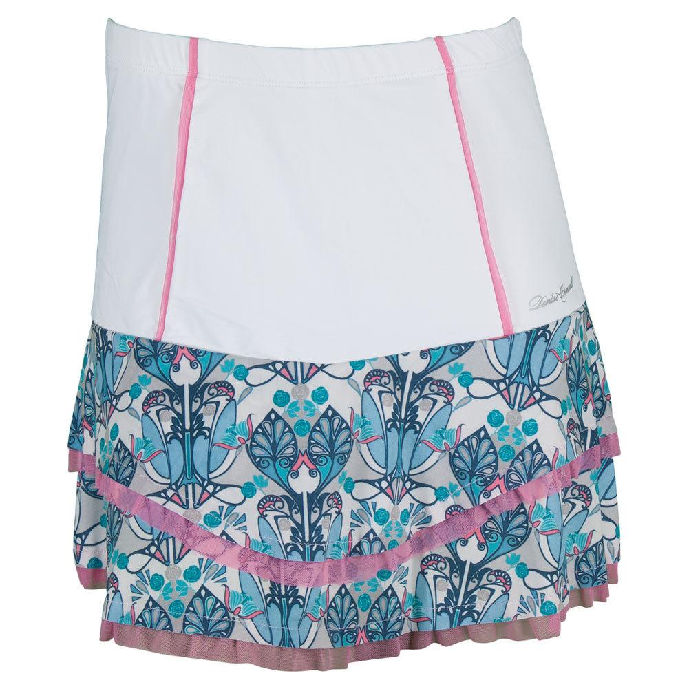 856f01de62e DENISE CRONWALL DENISE CRONWALL Women s High Waist Tennis Skort White And  Print