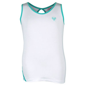Girls` Tennis Tank White and Teal