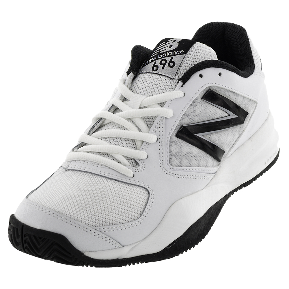 Men's 696v2 D Width Tennis Shoes White And Black