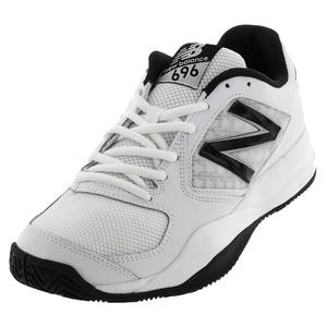 Men`s 696v2 D Width Tennis Shoes White and Black