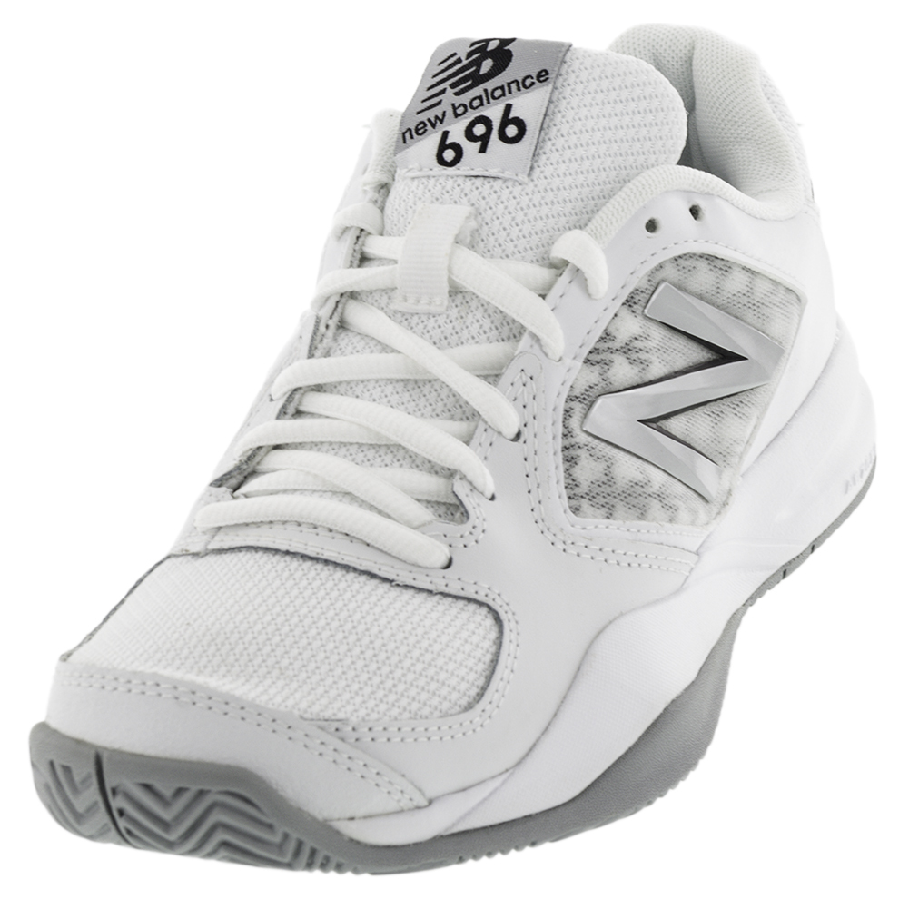 Women's 696v2 B Width Tennis Shoes White And Silver
