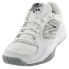 Women`s 696v2 B Width Tennis Shoes White and Silver by NEW BALANCE