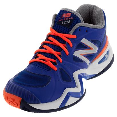 Men`s 1296v1 D Width Tennis Shoes Blue and Orange