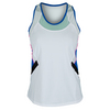 LUCKY IN LOVE Women`s Color Block Racerback Tennis Tank White
