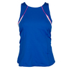LUCKY IN LOVE Women`s High Neck Colorblock Tennis Tank Sapphire