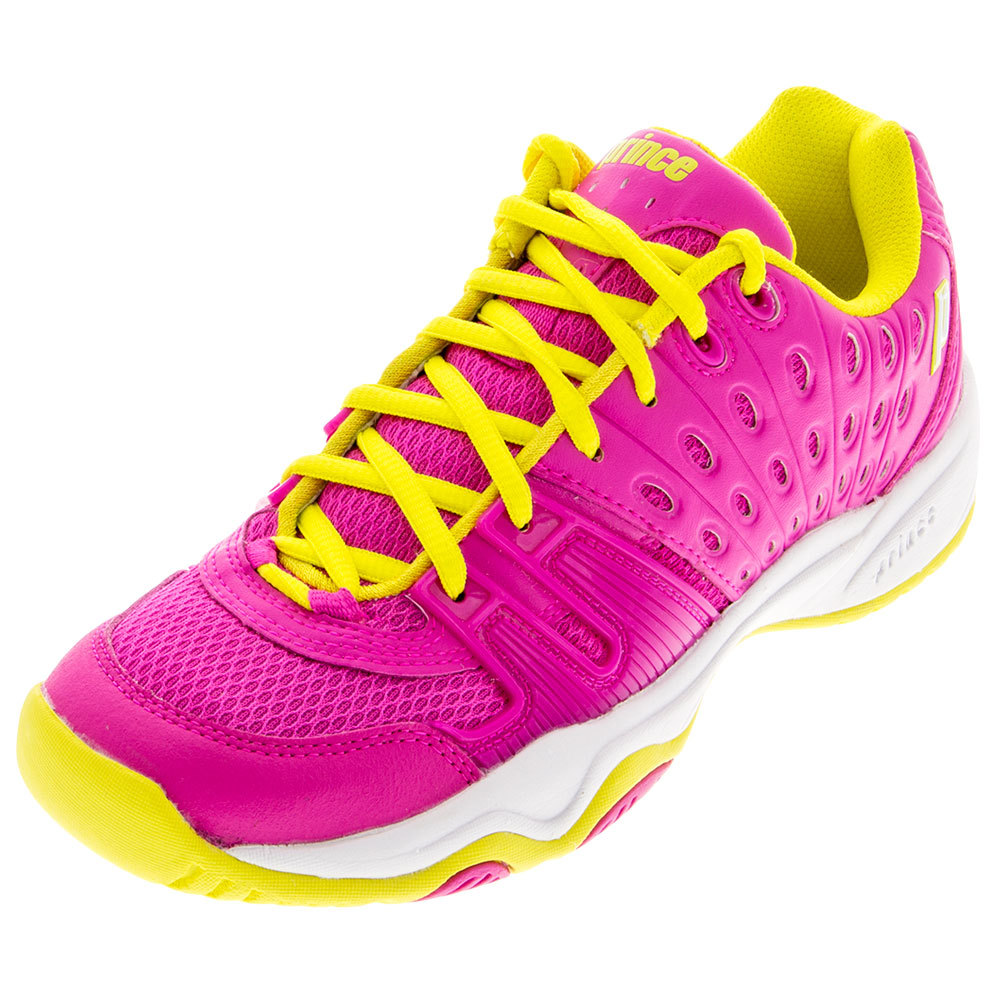 prince juniors t22 tennis shoes pink and yellow
