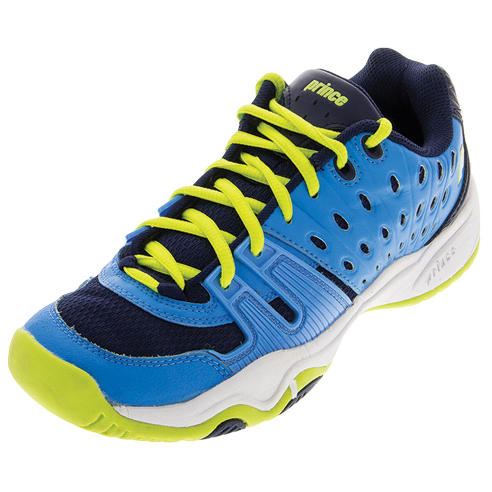 Juniors ` T22 Tennis Shoes Cool Blue And Lime
