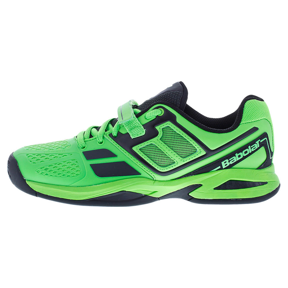 babolat juniors propulse bpm tennis shoes black and lime